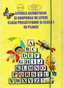 40 DE PLANSE CU LITERELE ALFABETULUI SI GRUPURILE DE LITERE PENTRU CLASA PREGATITOARE SI CLASA I