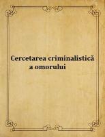 Cercetarea criminalistica a omorului